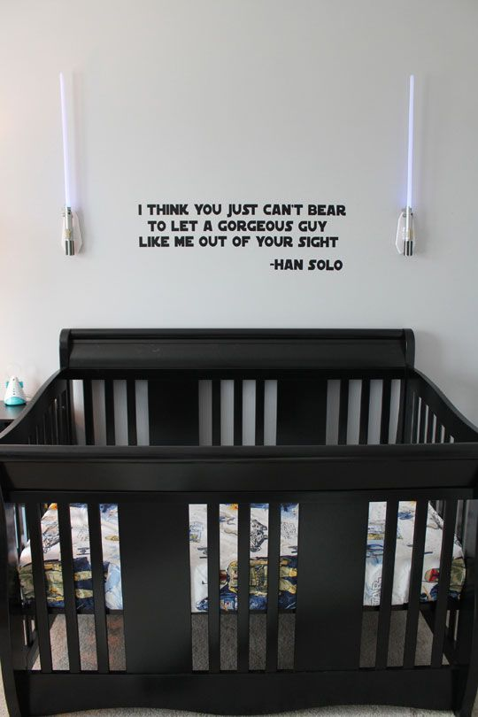 "Darren would love this, i think. Rocky's #StarWars Baby Nursery via Apartment Therapy's Oh Dee Doh (View #4 of 5) --- Love the Han Solo quote: ""I think you just can't bear to let a gorgeous guy like me out of your sight."" Perfect for their new bouncing baby boy!: Idea, Quote, Stars, Baby Room, Han Solo, Star Wars Nursery, Baby Boy, Starwars, Kid"