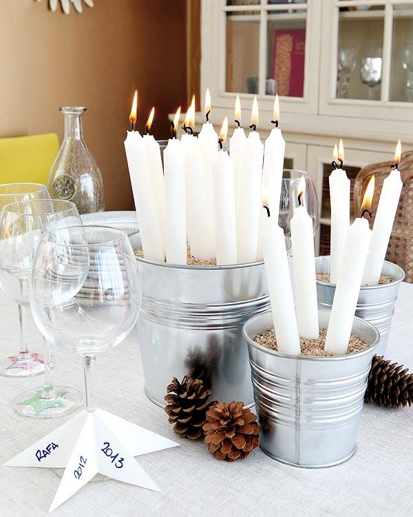 White Candles Wine Glass Nice Christmas Decorating Ideas On Table