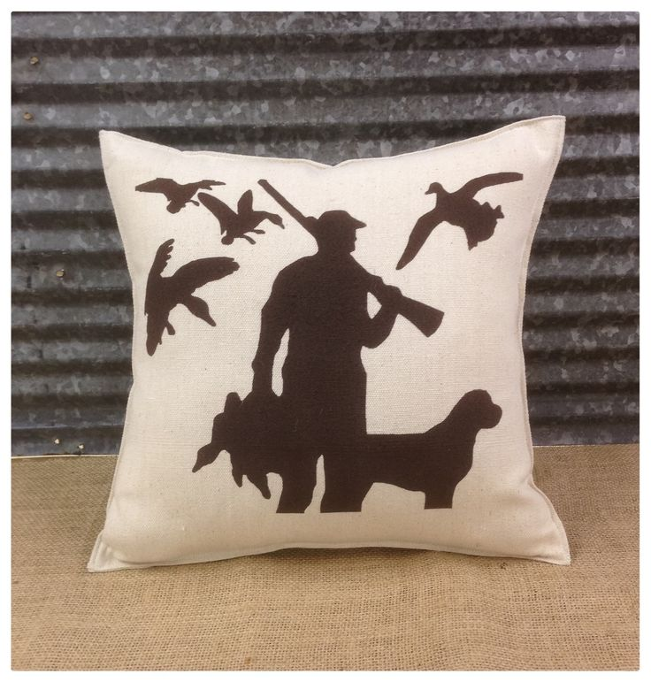 Decorative Pillow with a hunter with his dog and ducks.  COMPLETE pillow. Hunting decor Duck pillow by CreativePlaces on Etsy