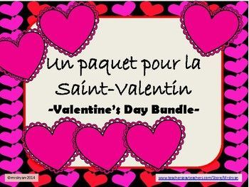 "Save time and money by purchasing this bundle about ""La Saint-Valentin""  a savings of more than 25% than if you were to buy these products individually!This BUNDLE includes ""coded phrases"", vocabulary list, ""trouvez les mots"", ""quelle lettre manque?"", mini card/message templates, a webquest, unscramble the letters to make a word PowerPoint slides, how many words can you make?, ""un jeu des paires"", a game of ""pioche"" and more."