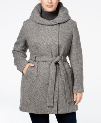 Calvin Klein Plus Size Hooded Walker Coat   macys.com