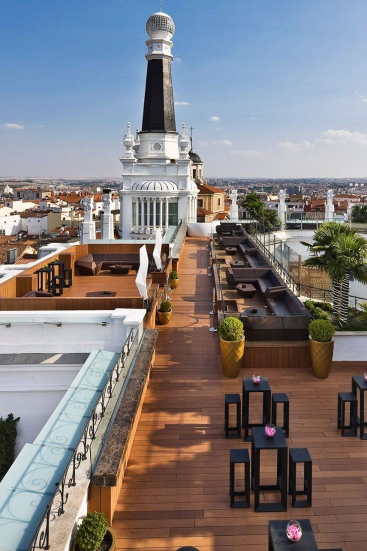 The rooftop terrace is home to a see-and-be-seen bar that overlooks Madrid's cityscape. #Jetsetter ME Madrid Reina Victoria (Madrid, Spain)