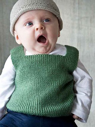 Moppet Vest from Easy Knits for Babies Martin Storey's collection of 14 projects of easy knits for babies from birth to eighteen months includes simple cardigans, cosy hoodies and a cool striped blanket perfect for the buggy or nursery | English Yarns
