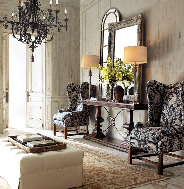 Foyer Chair And Table : Layered mirrors for a grand entryway foyers entryways