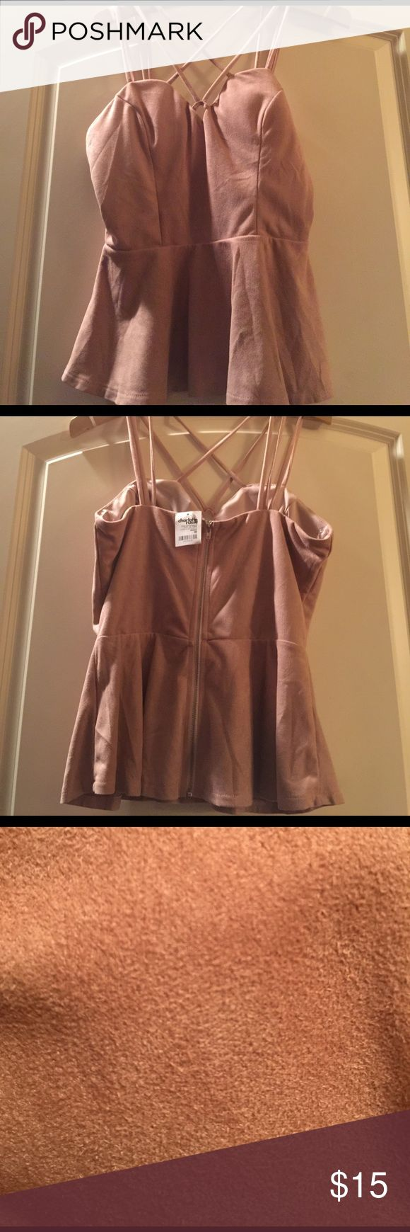 Charlotte Rousse mauve suede stewpot top NWT NWT soft faux suede stewpot top. Maybe color. Brand new Tops