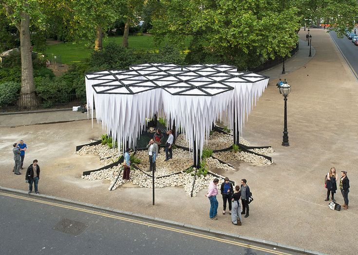 Tree-like structures designed to recreate the humidity of a rainforest have been installed outside the Architectural Association (AA) in London