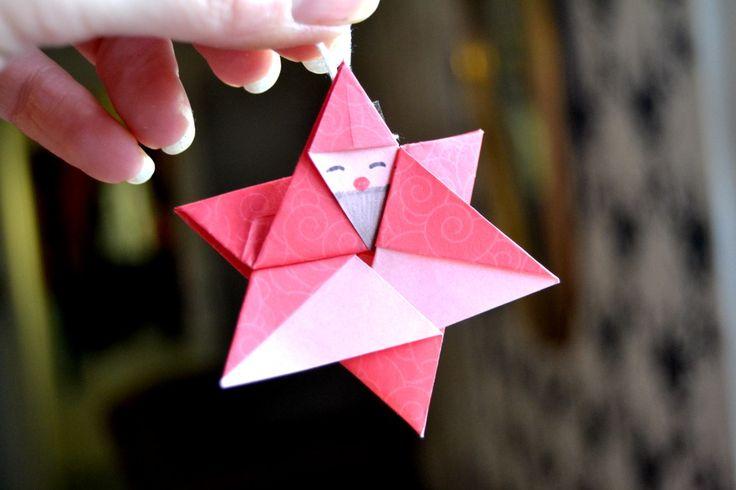 Sur le sapin : Létoile père Noël en origami  Au fil des saisons ...