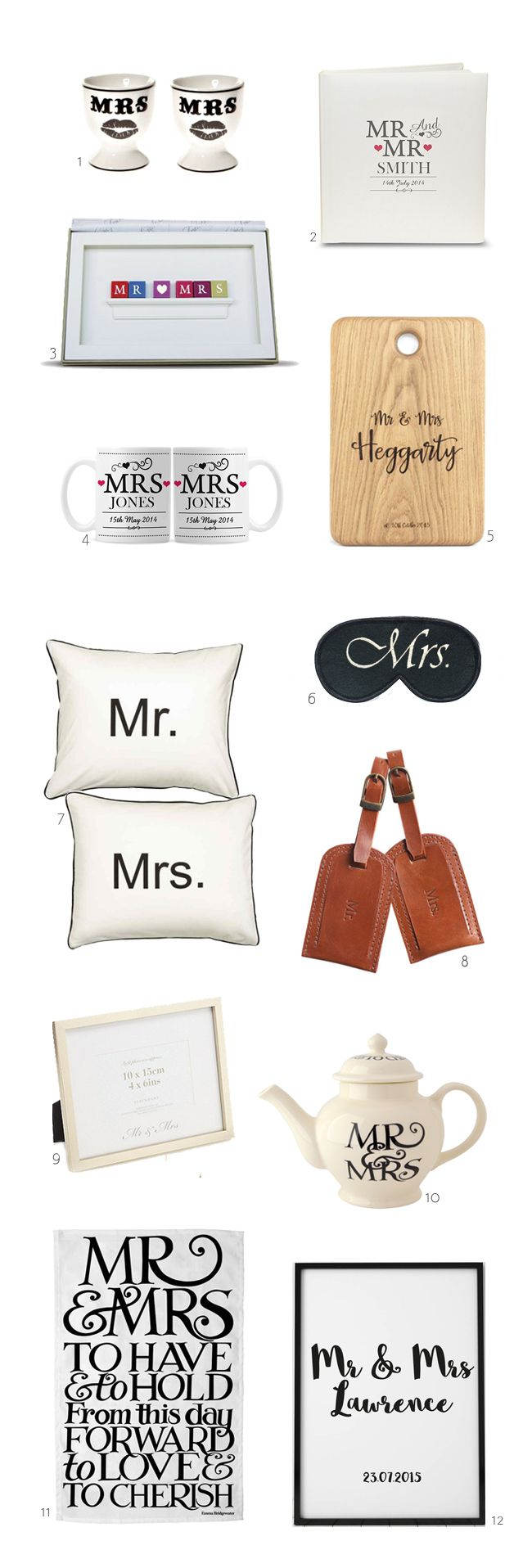 We've rounded up some seriously cute Mr & Mrs gift ideas for newlyweds from cups and chopping boards to luggage tags and cushions...