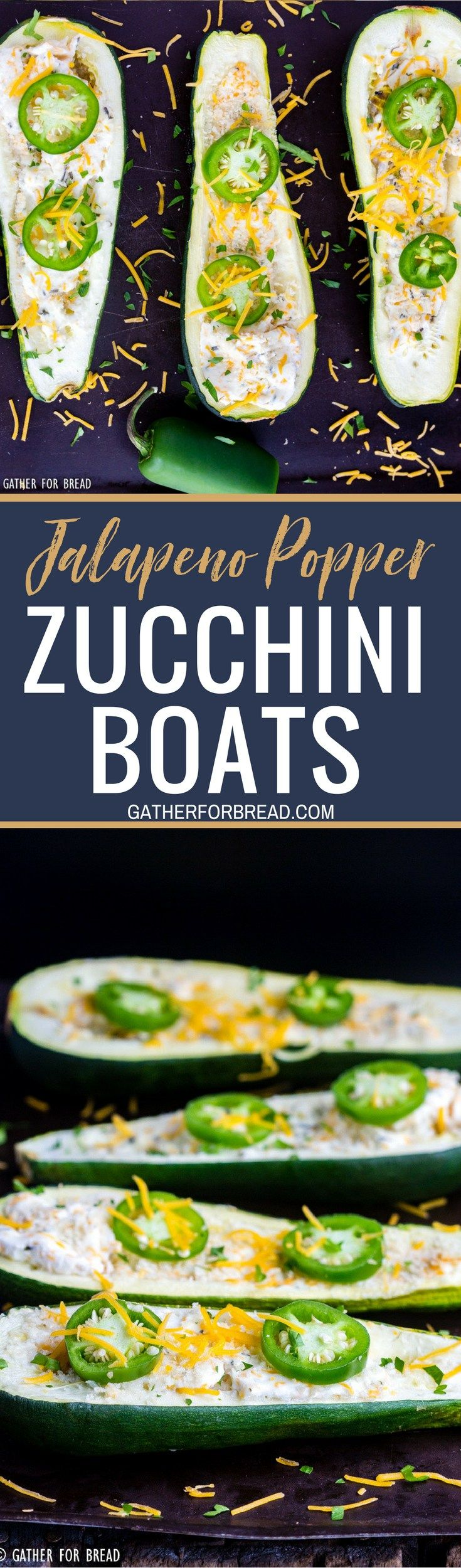 Jalapeno Popper Zucchini Boats - A recipe fresh twist on traditional zucchini boats. They're loaded with cheese, jalapeno and have just the right pop. Perfect homemade summer side dish.