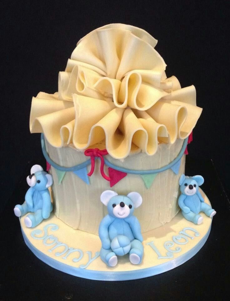 A different style for a Christening Cake , with the exception of the teddies, it is all chocolate