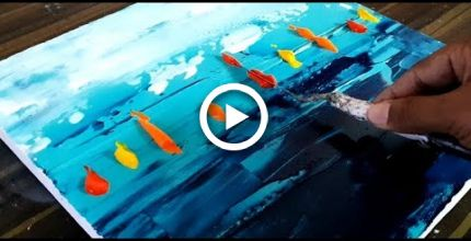 Cool Abstract Painting / Colorful Sailboats / Easy to do / Acrylic / Project 365 Days / Day # 01