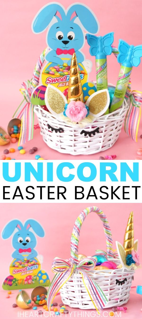 #ad This beautiful DIY Unicorn Easter basket with @SweeTARTScandy is sure to thrill any unicorn fan. It's so simple to put together even beginning crafters can create it in no time at all. Grab your supplies, a #SweeTARTS Jelly Beans Bunny Shaped Box and some SweeTARTS Chicks, Ducks & Bunnies Toppers for filling your basket, and have fun creating this DIY Easter Basket today. #eastercrafts #easterbasket #easter #unicornparty #unicorn #iheartcraftythings