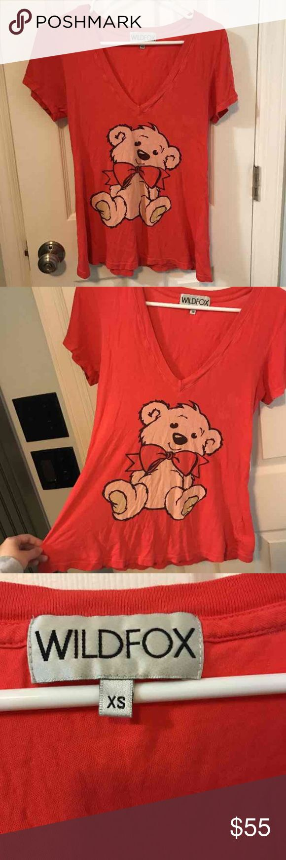 Red teddy bear shirt Red Wildfox teddy bear shirt, size extra small. Good used condition. Seam stitching in top/front area is coming undone, see last photo. Wildfox Tops Tees - Short Sleeve