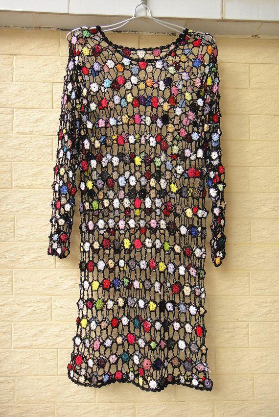 Boho häkeln lange Ärmel Kleid Perfekt wie ein Strand vertuschen und macht einen schönen Sommer für feste, Partys oder faule Tage kleiden.  Maß: