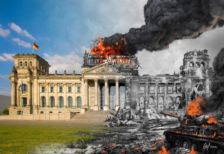 Représentation du Reichstag en deux parties: gauche actuel et à droite en 1945 pendant la prise de Berlin.