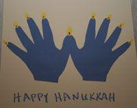Handprints make a menorah!