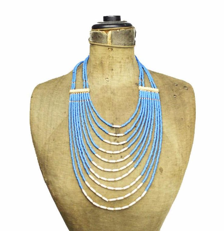 Long Blue and White Bead Multi Strand Bib Necklace