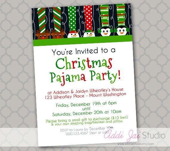 Christmas Pajama Party PRINTABLE invitation 5x7 by AddiJaiStudio