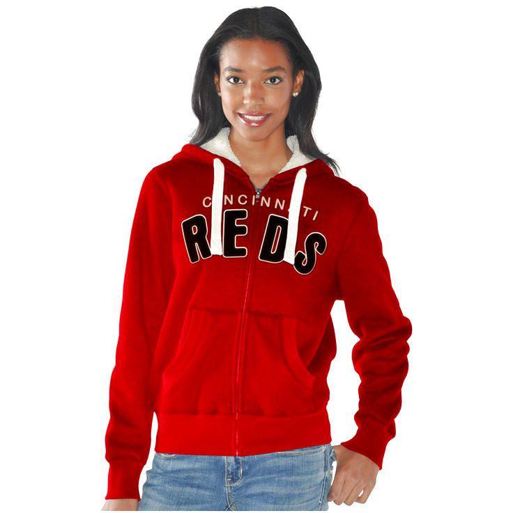 Cincinnati Reds Women's Practice Fleece Full Zip Hoodie - Red - $53.19