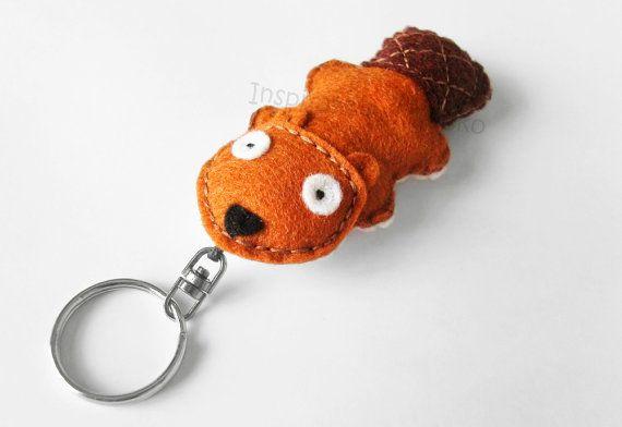 Beaver keychain plush cute animal key ring by InspirationalGecko