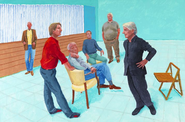 David Hockney, The Group XIII, 4-9 August, 2014. Acrylic on canvas, 48 x 72' (as seen at Pace Gallery on November 8, 2014)