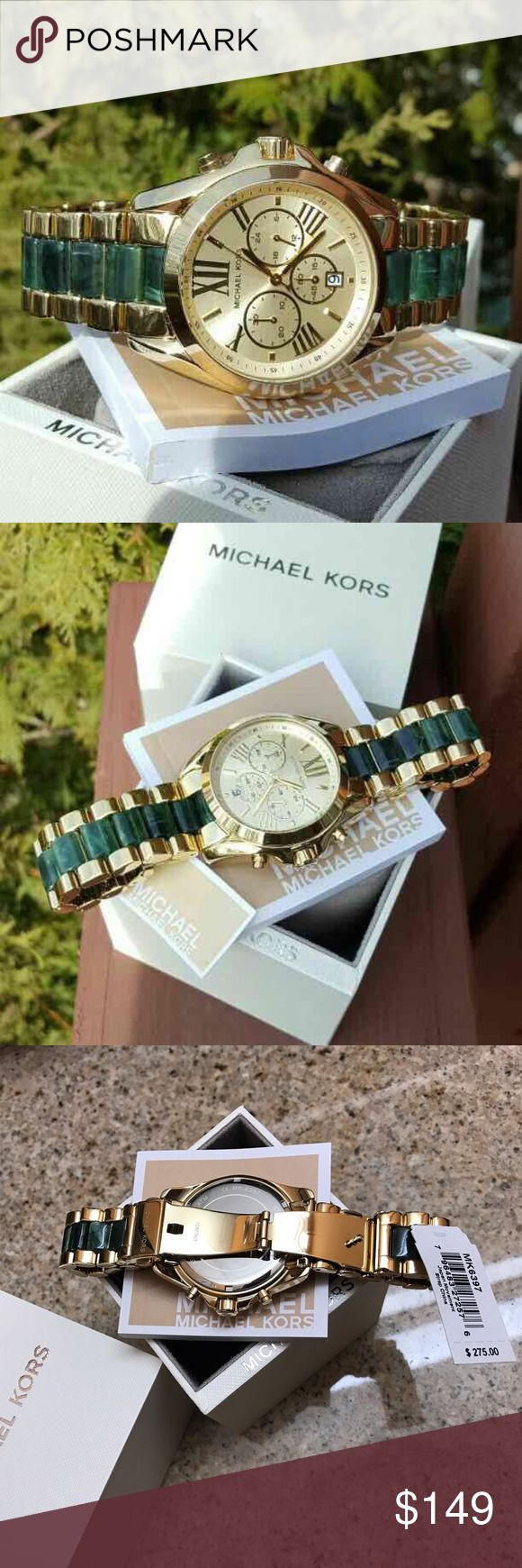 New Michael Kors MK Bradshaw bracelet watch MK6397 LAST 1! Guaranteed Authentic MK6397 / Model: Bradshaw / Retail: $295 / Gold stainless steel and  emerald acetate / New with Michael Kors watch box and owners booklet included / Chronograph dial / 43mm case / 10 ATM / UPC: 796483272576 / No trades. Buy now or offer only / Shipped same business day. Michael Kors Accessories Watches