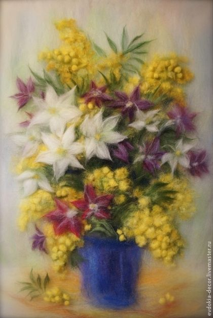 Картины цветов ручной работы. Ярмарка Мастеров - ручная работа. Купить Букет с мимозой. Handmade. Мимоза, букет цветов