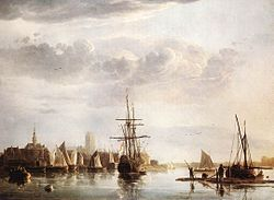 Bij 'Hoofdstuk 4. De natuur in de kunst - Stadsgezichten'. Naast portretten, bijbelse taferelen en genrestukken speelde de natuur ook een belangrijke rol in de Gouden Eeuw. Het Hollandse landschap, met name zee- en stadsgezichten, stillevens en tulpenmanie, was een populair onderwerp. Hier zien we 'Gezicht op Dordrecht' (ca. 1660) van Aelbert Cuyp.