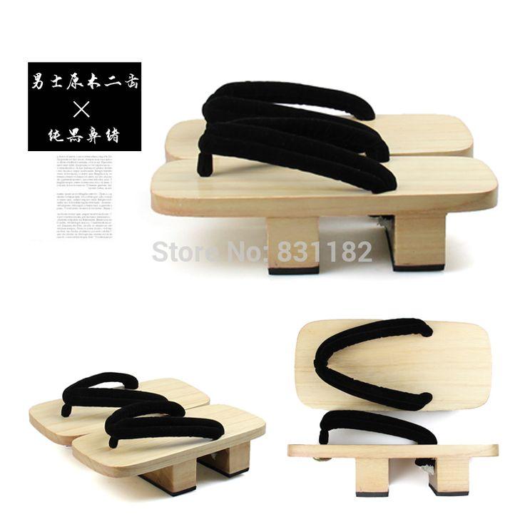 Мужская японская двухместный каблука дерево гета сандалии, деревянные сабо мужские, мужская свободного покроя вьетнамки сандалии деревянные башмаки