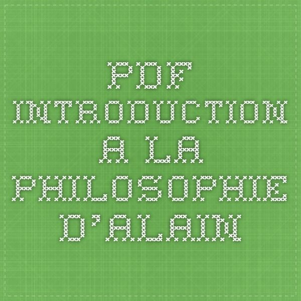 PDF Introduction a la philosophie d'Alain