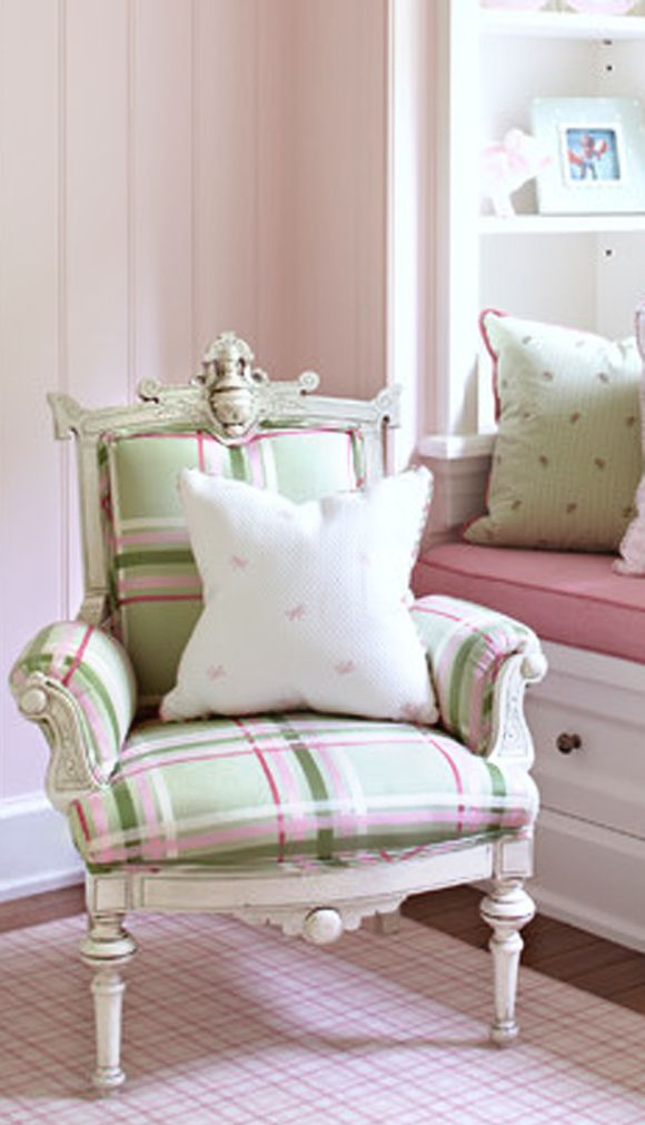Beautiful plaid chair in pale pink,  green and white.