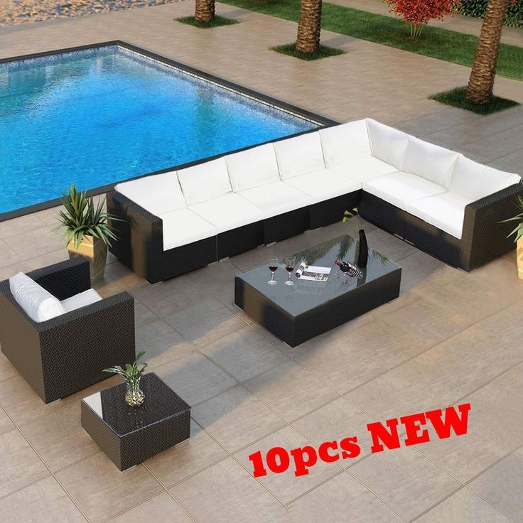 Wicker Patio Sofa Set Rattan Outdoor Clearance Furniture Lawn Sectional Corner