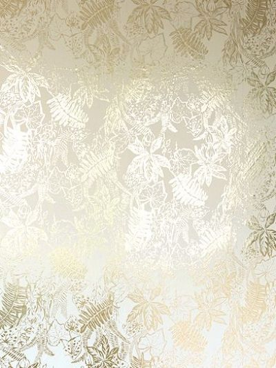 Hothouse Cream Gold (HOT C/G) - Erica Wakerly Wallpapers - A richly detailed jungle inspired all over leaf design in metallic gold on a cream background. Other colour ways available. Please request a sample for true colour match. Paste-the-wall product. Pattern repeat 61.3cm