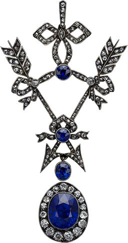 Sapphire, Diamond Pendant, ca.1910, Faberge production, Russia.