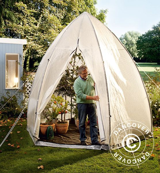 WINTER PROTECTION PLANT TENT, TROPICAL ISLAND XL, Ø3.4X2.8 M Portable greenhouse for protection of your valued potted garden plants during winter. Makes it possible to leave most of your plants in the garden or on the patio during winter