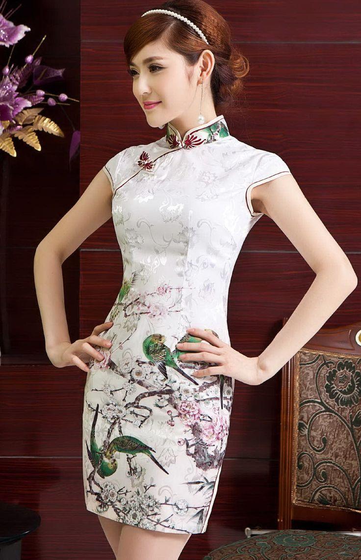 Ok wedding gallery the beauty dress of cheongsam 2013 - Elegant Cotton Flowers Birds Print V Collar Modern Bodycon Chinese Qipao Dress