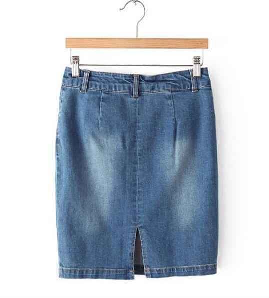 De color azul oscuro de moda de europa mujeres del estilo de los pantalones vaqueros del desgaste vestido de la oficina de agua lavado de coches a corto vestido
