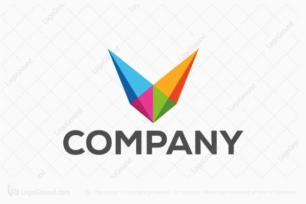 Logo for sale: Letter V Rainbow Abstract Logo