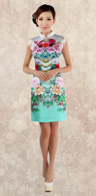 Green Peony floral heavy crepe silk cheongsam short Chinese qipao summer dress - ASIAN INSPIRED FASHION