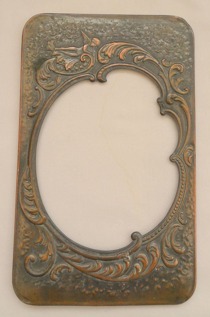 antique art nouveau copper front of photo frame with cherub sold on my ebay site