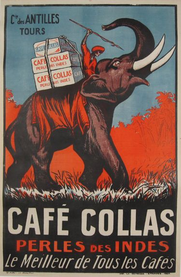 French food poster features a man in red with a spear riding an elephant carrying boxes. We specialize in Original Vintage and Antique Posters. Cafe Collas by Imp. La Semeuse 1927 France