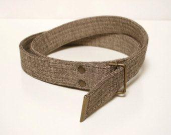 Brown Fabric Belt : Organic and Fair Trade. Vegan belt, cotton belt, men belt, vegan gift, women belt, organic clothing, fair trade clothing