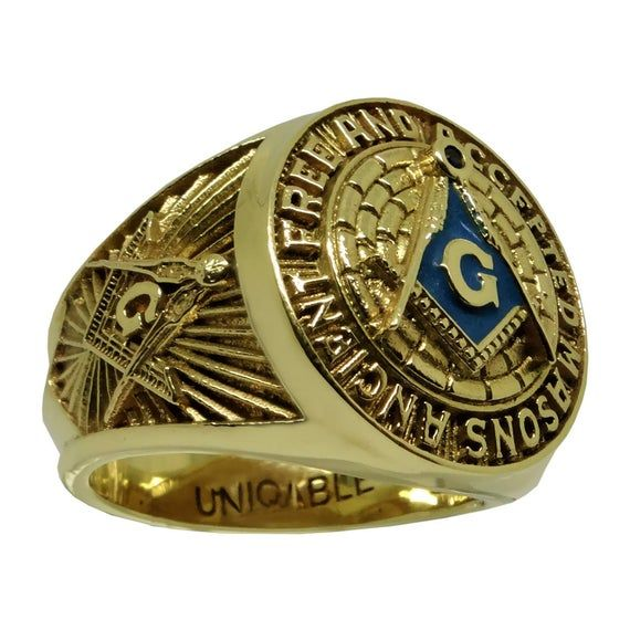 A F A M Masonic Havy Solid 14k Or 10k Gold Mason Freemason Man Etsy Masonic Ring Rings For Men Freemason Ring