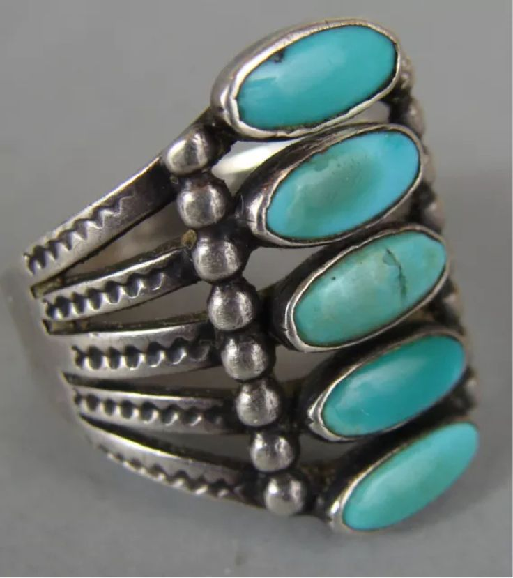 EXCEPTIONAL Early Vintage NAVAJO Turquoise Stack Ring w/ARROW Stamps Sz 6.5