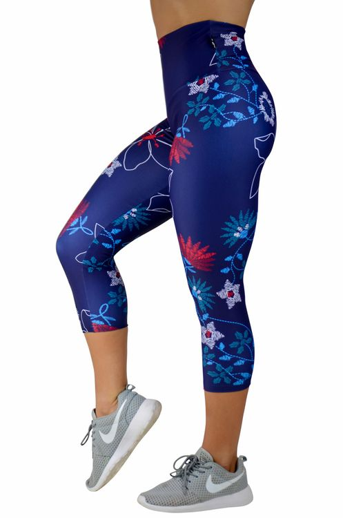 Body Contouring High Waisted Capri Leggings - Needlepoint Garden Made to measure Capris now available at www.exoticahtletica.com.au