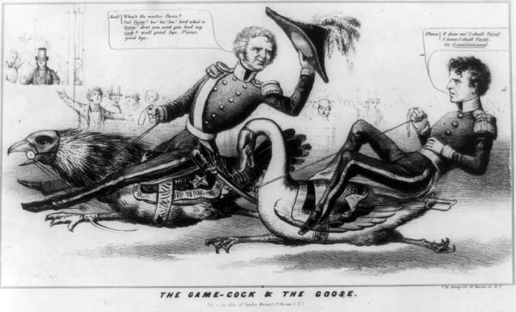 """A pro-Whig cartoon showing rival candidates Winfield Scott and Franklin Pierce in a race for the presidency in 1852 before an audience of animated spectators. Scott, in uniform and looking uncharacteristically trim, rides a giant gamecock. He is clearly in the lead here, and tips his hat to Pierce, taunting, """"What's the matter, Pierce? feel """"Faint? """" ha! ha! ha! lord what a """"Goose!"""" don't you wish you had my """"Cock?"""" well good bye, Pierce, good bye."""""""