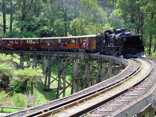 Puffing Billy crossing the Selby bridge :: Dandenong Ranges, Victoria, Australia