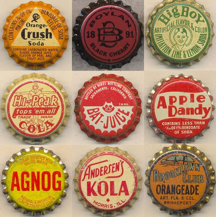Inspires shape and typography when creating brand logo/emblems. We could create our own general slogans instead of a brand name.  Capped Vintage Graphics   The Bottle Cap Man graphics