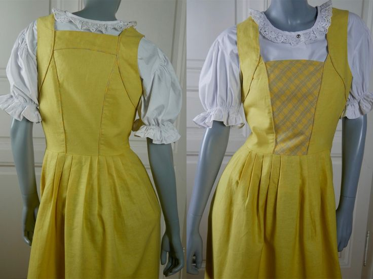 Dirndl Dress, Austrian Vintage Yellow Linen Traditional Bavarian Trachten Octoberfest Folk Dress: Size 8 US, Size 12 UK by YouLookAmazing on Etsy
