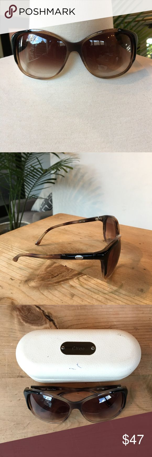 Chloe Brown Sunglasses Oversized Great Condition. No scratches on lenses.  Case does have pen marks as pictured. Chloe Accessories Glasses